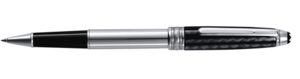 Montblanc Carbon and Steel Meisterstuck Rollerball Pen Silver And Black 05833 [ed13]