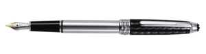 Montblanc Carbon and Steel Meisterstuck Fountain Pen Black And Silver 05827 [06cb]